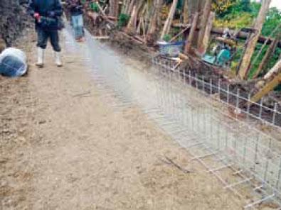 枠型の施工手順8 2段目鋼製網取付 以降繰返し作業